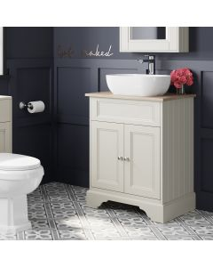 Lucia Chalk White Vanity With Oak Top & Curved Counter Top Basin 640mm