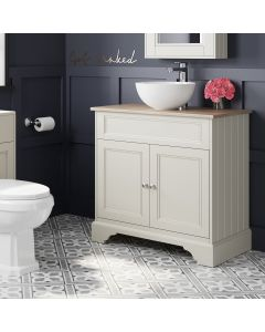 Lucia Chalk White Vanity With Oak Top & Round Counter Top Basin 840mm