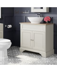 Lucia Chalk White Vanity With Oak Top & Oval Counter Top Basin 840mm