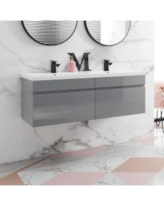 Trent Stone Grey Wall Hung Double Basin Drawer Vanity 1200mm