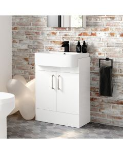 Harper Gloss White Vanity with Semi Recessed Basin 600mm
