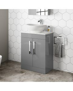 Avon Pebble Grey Vanity with Marble Top & Oval Counter Top Basin 600mm