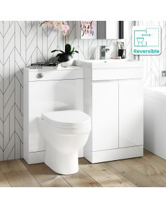 Trent Gloss White Combination Vanity Basin and Seattle Toilet 1000mm