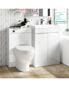 Trent Gloss White Combination Vanity Basin and Seattle Toilet 1100mm