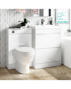 Trent Gloss White Combination Basin Drawer and Seattle Toilet 1100mm