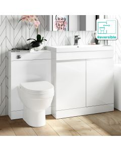 Trent Gloss White Combination Vanity Basin and Seattle Toilet 1300mm