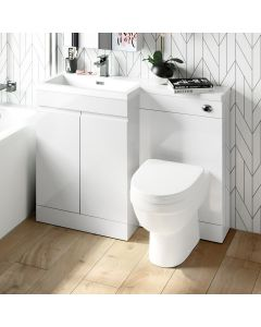 Trent Gloss White Combination Vanity Basin and Seattle Toilet 1100mm - Left Handed