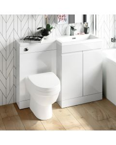 Trent Gloss White Combination Vanity Basin and Seattle Toilet 1100mm - Right Handed