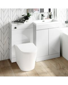 Trent Gloss White Combination Vanity Basin and Boston Toilet 1100mm - Right Handed