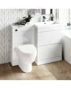Trent Gloss White Combination Basin Drawer and Seattle Toilet 1100mm - Right Handed
