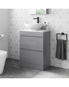 Trent Pebble Grey Vanity Drawer with Marble Top & Oval Counter Top Basin 600mm
