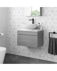 Trent Pebble Grey Wall Hung Drawer Vanity with Marble Top & Oval Counter Top Basin 600mm