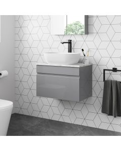 Trent Pebble Grey Wall Hung Drawer Vanity with Marble Top & Curved Counter Top Basin 600mm