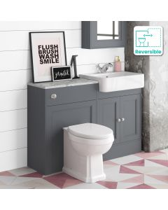 Monaco Slate Grey Combination Vanity Basin with Marble Top & Hudson Toilet 1200mm