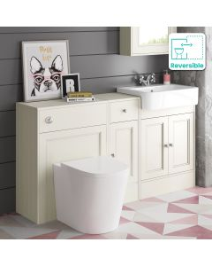 Monaco Chalk White Combination Vanity Basin and Boston Toilet 1500mm