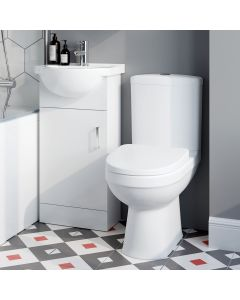 Quartz Gloss White Cloakroom Vanity with Semi Recessed Basin 400mm and Toilet Set