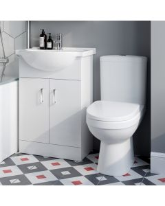 Quartz Gloss White Vanity with Semi Recessed Basin 550mm and Toilet Set