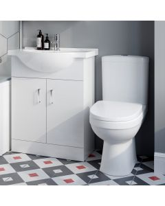 Quartz Gloss White Vanity with Semi Recessed Basin 650mm and Toilet Set