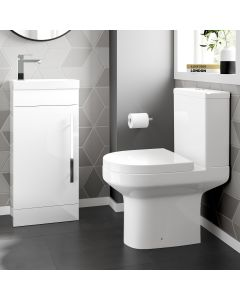 Avon Gloss White Cloakroom Floor Standing Basin Vanity 400mm and Toilet Set