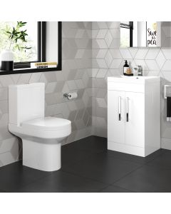 Avon Gloss White Basin Vanity 500mm and Toilet Set