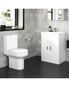 Avon Gloss White Basin Vanity 600mm and Toilet Set
