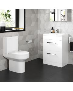 Avon Gloss White Basin Drawer Vanity 600mm and Toilet Set