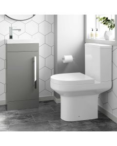 Avon Pebble Grey Cloakroom Floor Standing Basin Vanity 400mm and Toilet Set