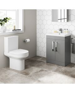 Avon Pebble Grey Basin Vanity 600mm and Toilet Set