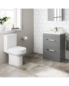 Avon Pebble Grey Basin Drawer Vanity 600mm and Toilet Set