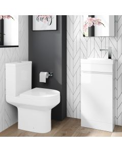 Trent Gloss White Cloakroom Floor Standing Basin Vanity 400mm and Toilet Set