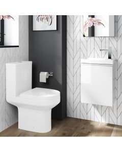 Trent Gloss White Cloakroom Wall Hung Basin Vanity 400mm and Toilet Set