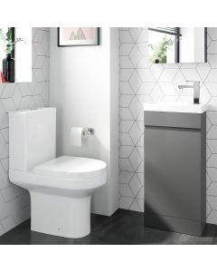 Trent Pebble Grey Cloakroom Floor Standing Basin Vanity 400mm and Toilet Set