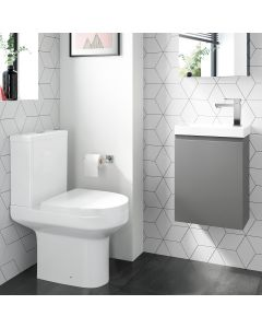 Trent Pebble Grey Cloakroom Wall Hung Basin Vanity 400mm and Toilet Set