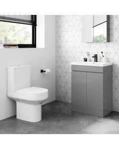 Trent Pebble Grey Basin Vanity 600mm and Toilet Set