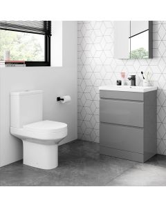 Trent Pebble Grey Basin Drawer Vanity 600mm and Toilet Set