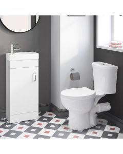 Quartz Gloss White Cloakroom Floor Standing Basin Vanity 400mm and Toilet Set