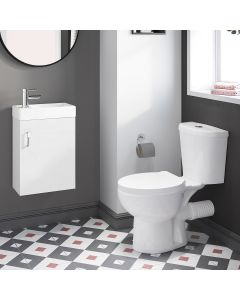 Quartz Gloss White Cloakroom Wall Hung Basin Vanity 400mm and Toilet Set