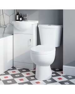 Quartz Gloss White Cloakroom Vanity with 400mm Basin and Toilet Set