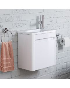 Denver Gloss White Cloakroom Wall Hung Basin Vanity 400mm - Right Handed
