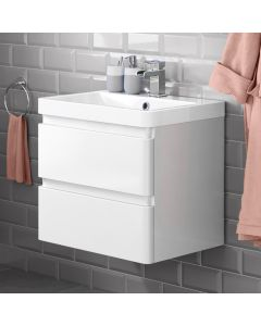 Denver Gloss White Wall Hung Basin Drawer Vanity 600mm