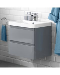 Denver Storm Grey Wall Hung Basin Drawer Vanity 600mm