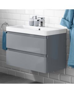 Denver Storm Grey Wall Hung Basin Drawer Vanity 800mm