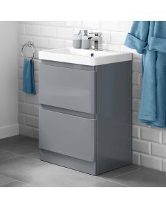 Denver Storm Grey Basin Drawer Vanity 600mm