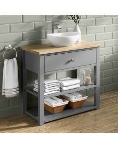 Sutton Dove Grey Vanity with Oval Counter Top Basin 800mm