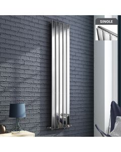 Chrome Single Flat Panel Vertical Radiator 1800x370mm