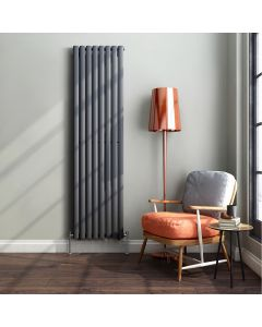 Anthracite Double Oval Panel Radiator 1800x480mm
