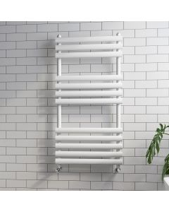 White Oval Panel Heated Towel Rail 1200x600mm
