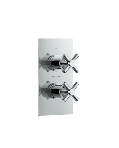 Chrome Crosshead Thermostatic Shower Valve - 2 Outlets