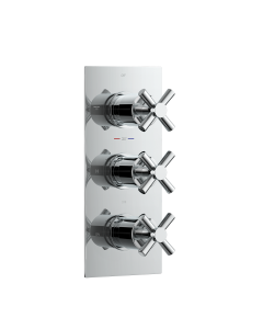 Chrome Crosshead Thermostatic Shower Valve - 3 Outlets