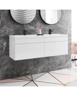 Trent Gloss White Wall Hung Double Basin Drawer Vanity 1200mm
